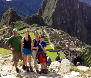 Arriving through the Sun Gate, Macchu Pichu below.