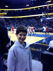 At the Orlando Magic game.