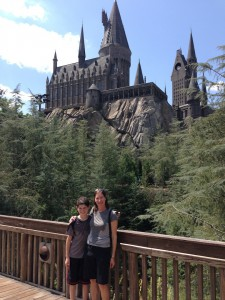 In front of the Harry Potter castle.