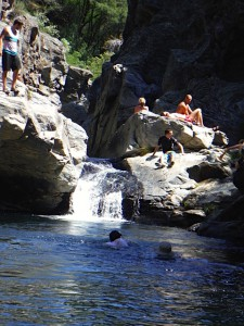 Relaxing & rock jumping at a swimming hole