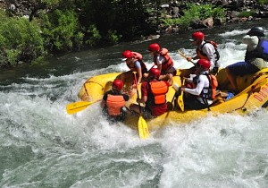 Our raft faces the rapids head on