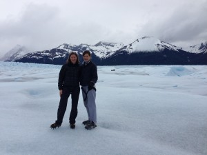 We trekked for miles on the glacier. Note the crampons.