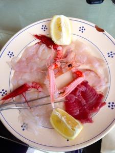 A plate of crudo at Pesceria 2 Mari.