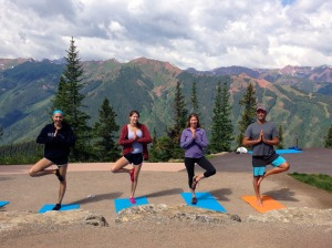 Morning yoga atop Aspen mountain.