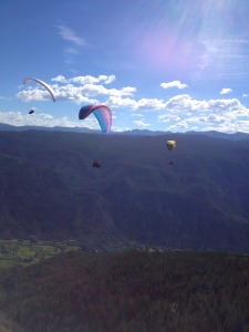 That's us paragliding over the valley!