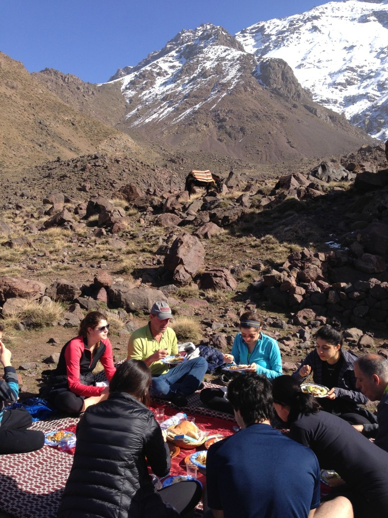 Mid-trek picnic in the Atlas mountains.