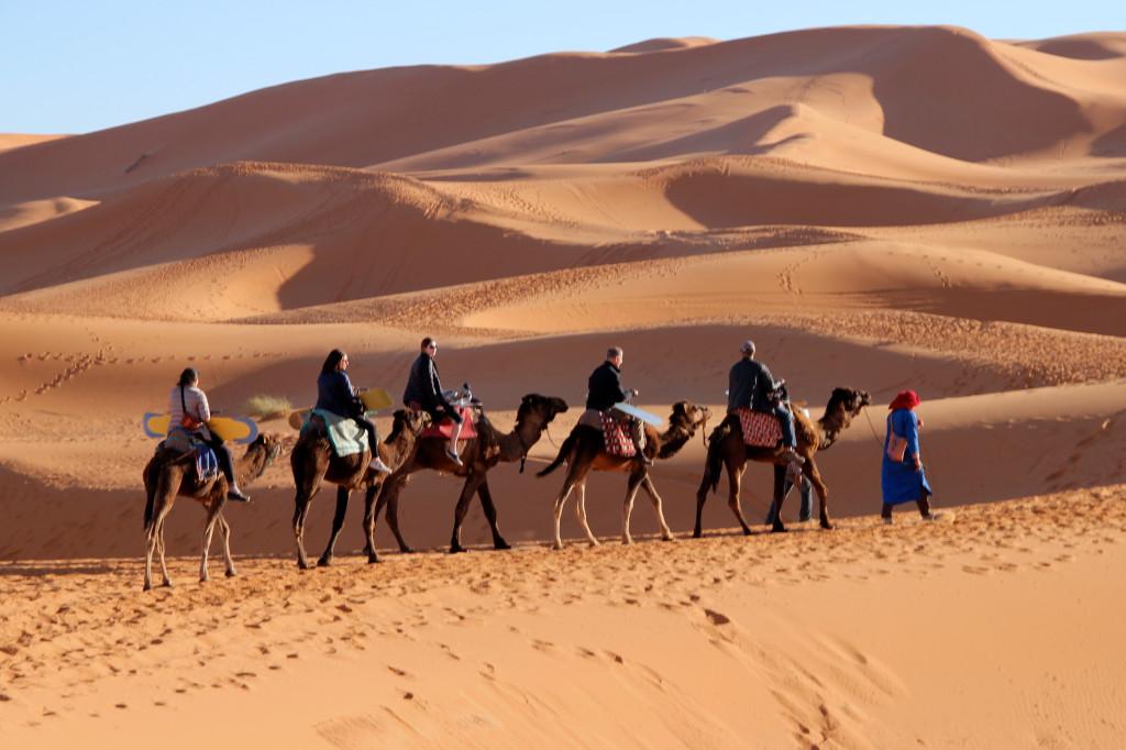 Riding deep into the Sahara.